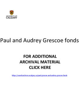 Paul Grescoe and Audrey Grescoe fonds.